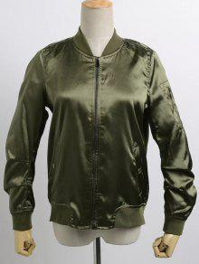 Buy Satin Bomber Zippered Jacket - ARMY GREEN M