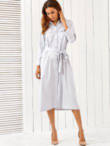 Belt Midi Shirt Dress - Light Gray L