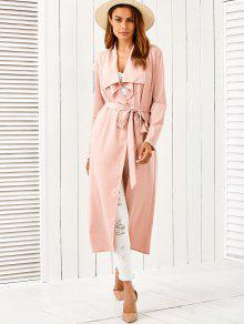 Belted Shawl Collar Trench Coat PINK: Jackets & Coats S | ZAFUL