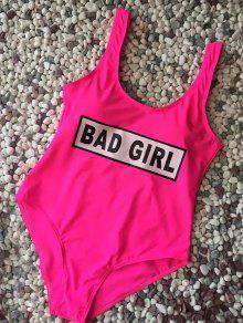 Straps Bad Girl Print Swimwear - Rose Red M