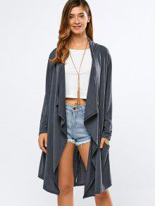 Long Sleeve Back Slit Long Cardigan - Deep Gray Xl