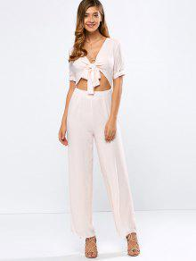 Cropped Tied Wide Leg Jumpsuit - Shallow Pink L