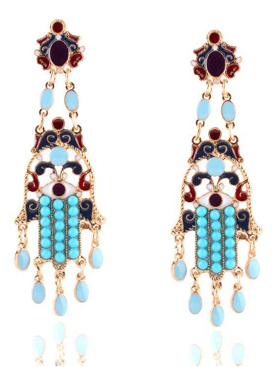 shops Bohemian Layered Oval Beads Earrings - GOLDEN