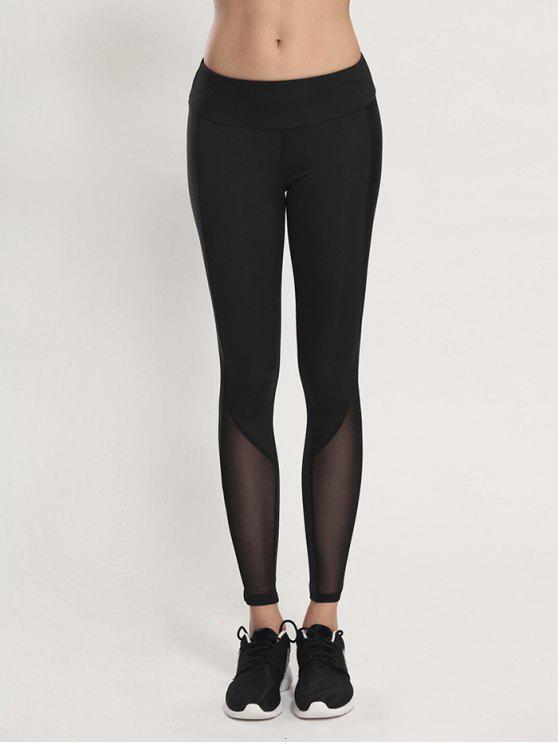 shop Bodycon Yoga Voile Leggings - BLACK M