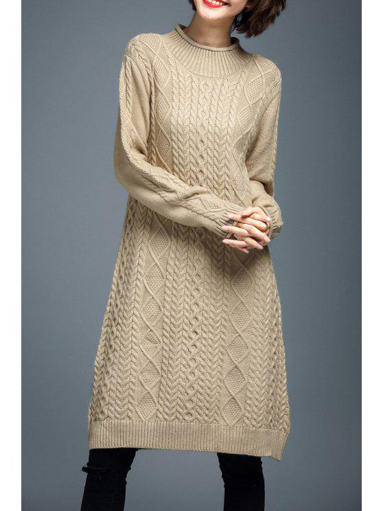 8f5e67aae45 33% OFF  2019 Long Sleeve Cable Knit Sweater Dress In BEIGE