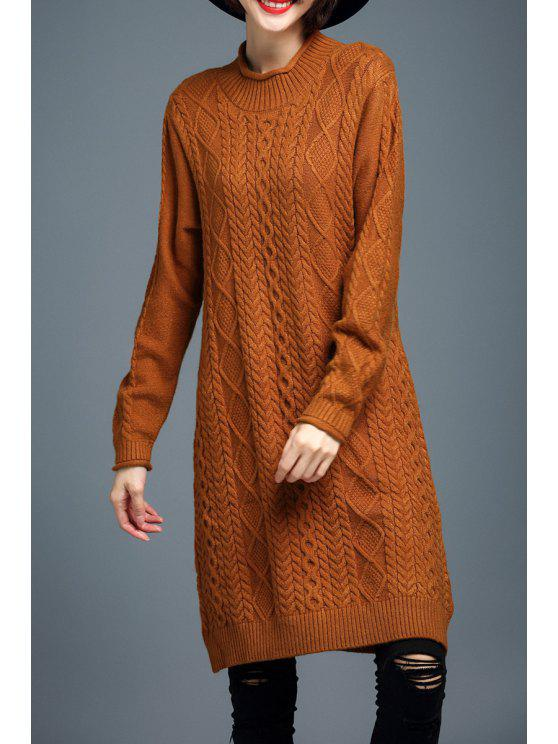 d1b974bcba1 23% OFF  2019 Long Sleeve Cable Knit Sweater Dress In ORANGE