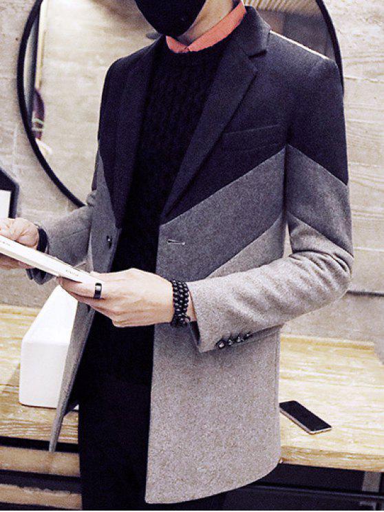 Color Block risvolto monopetto cappotto di lana - Grigio 2XL