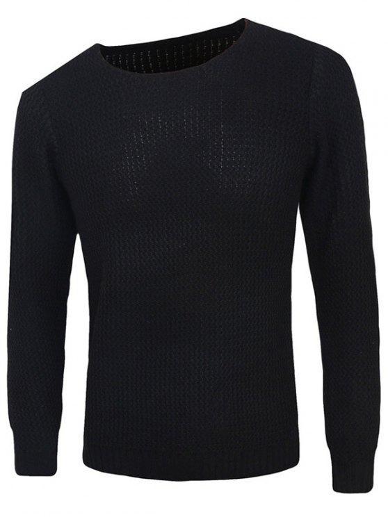 Rib-Hem girocollo trama maglione Pullover - Nero L