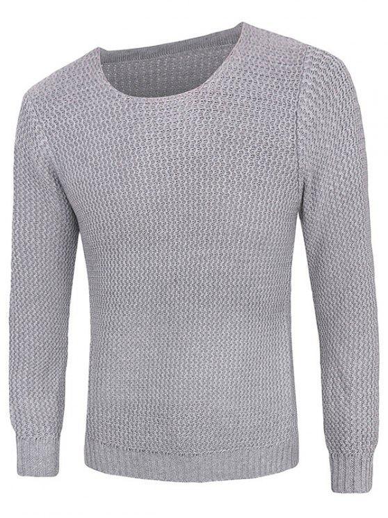 Rib-Hem girocollo trama maglione Pullover - Grigio Chiaro M