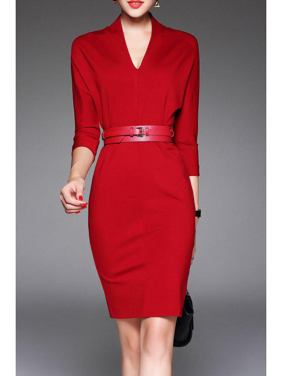 f68c0bacdb7 23% OFF  2019 V Neck Belted Bodycon Dress In RED