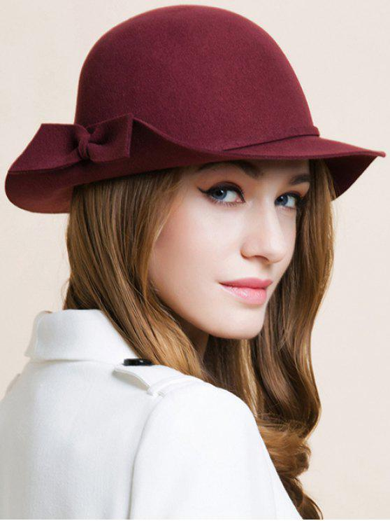 womens Bowknot Edge Dome Hat - WINE RED