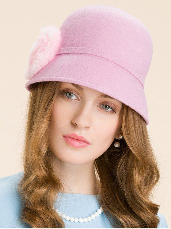 women Handmade Round Fuzzy Ball Cloche Hat - PINK