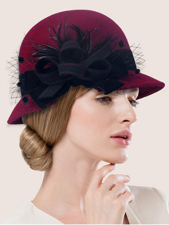 women's Handmade Strappy Mesh Cloche Hat - WINE RED