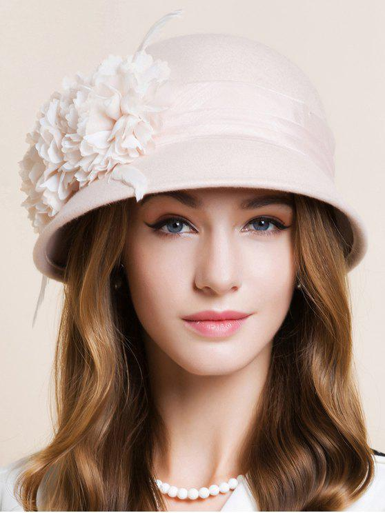 online Handmade Flourishing Flower Feather Cloche Hat - LIGHT APRICOT