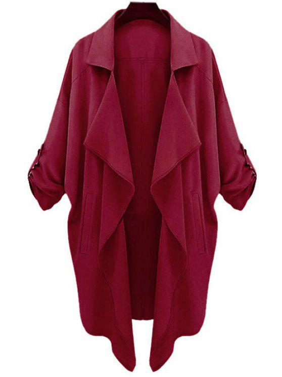 trendy Long Sleeve Solid Color Trench Coat - CLARET L