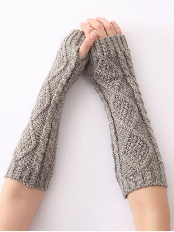unique Christmas Winter Diamond Hollow Out Crochet Knit Arm Warmers - LIGHT GRAY