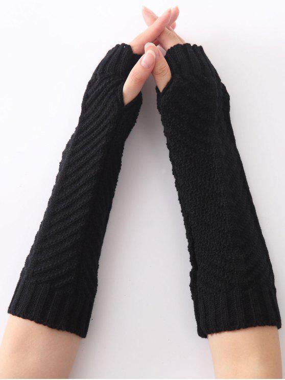 Natal Fishbone Inverno Crochet Knit Arm Warmers - Preto