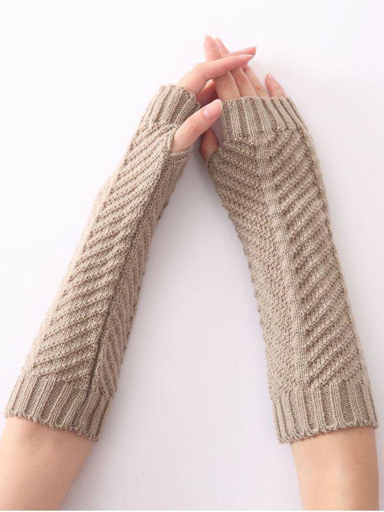 women Christmas Winter Fishbone Crochet Knit Arm Warmers - LIGHT GRAY