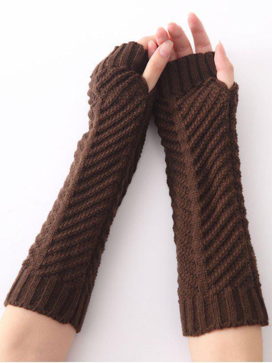 Winter Weihnachten Wärmehaltung Häkelnarbeit Gestrickter Handschuh mit Gräten Muster - Kafee