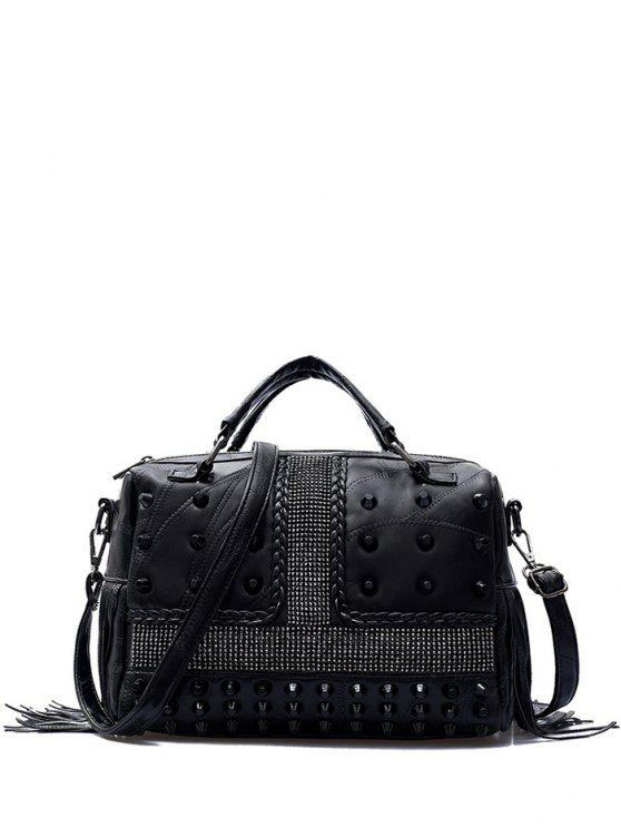 fashion Stitching Fringe Rivet Handbag - BLACK