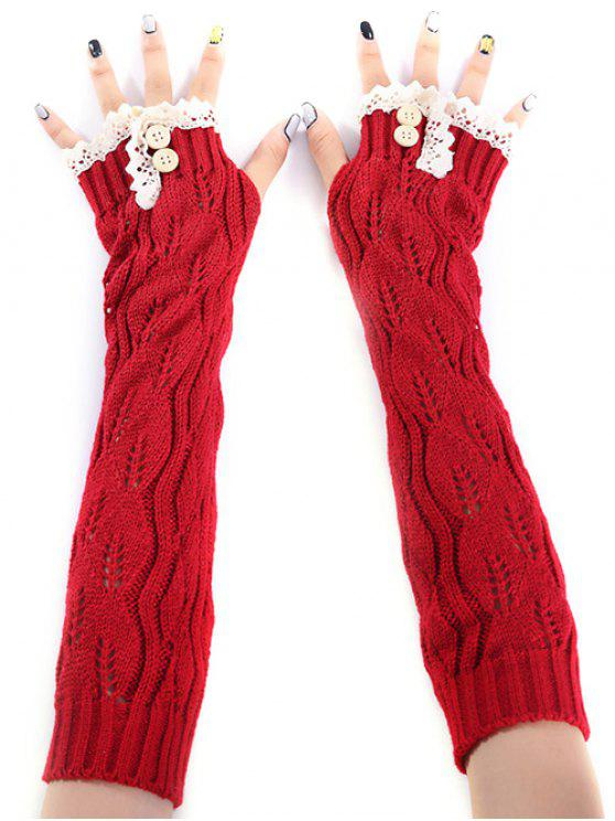 ladies Christmas Winter Lace Buttons Hollow Out Crochet Knit Arm Warmers - RED