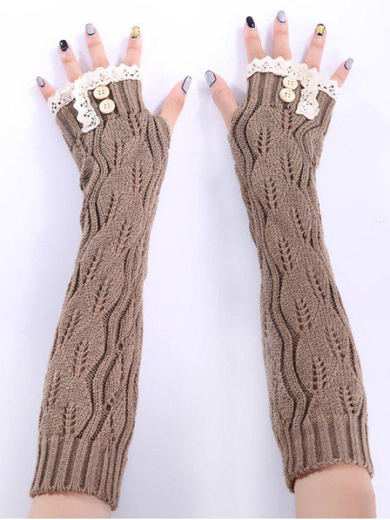 lady Christmas Winter Lace Buttons Hollow Out Crochet Knit Arm Warmers - KHAKI