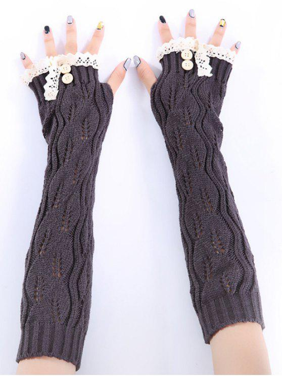 new Christmas Winter Lace Buttons Hollow Out Crochet Knit Arm Warmers - DEEP GRAY
