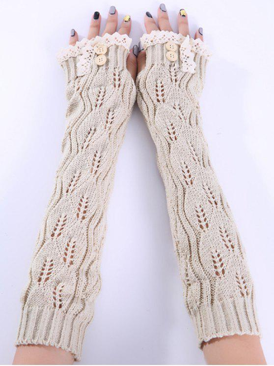 outfit Christmas Winter Lace Buttons Hollow Out Crochet Knit Arm Warmers - BEIGE