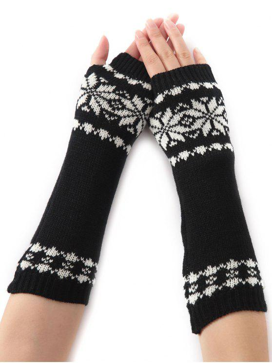 outfits Winter Warm Christmas Snow Floral Crochet Knit Arm Warmers - BLACK