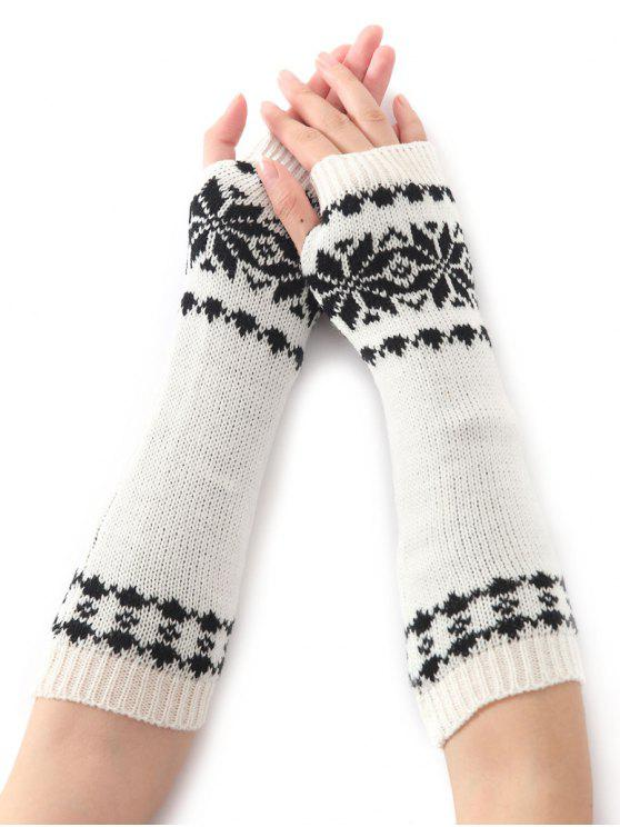 shop Winter Warm Christmas Snow Floral Crochet Knit Arm Warmers - WHITE