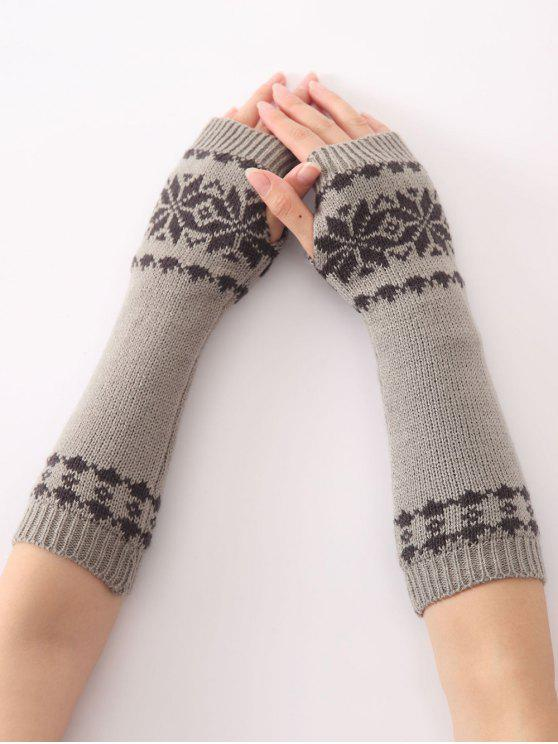 latest Winter Warm Christmas Snow Floral Crochet Knit Arm Warmers - LIGHT GRAY