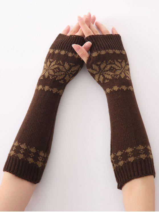 Inverno quente neve do Natal florais malha crochet Arm Warmers - Café