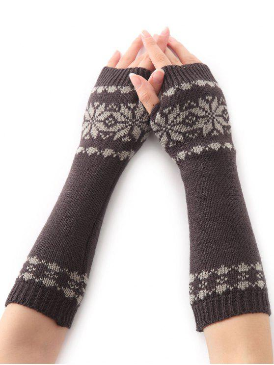 shops Winter Warm Christmas Snow Floral Crochet Knit Arm Warmers - DEEP GRAY