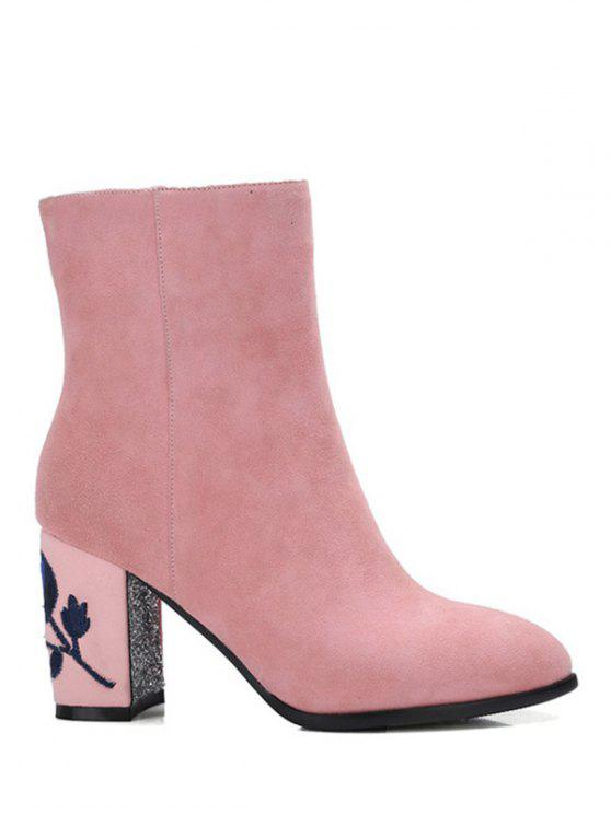 shop Flower Pattern Embroidery Sequins Ankle Boots - PINK 38