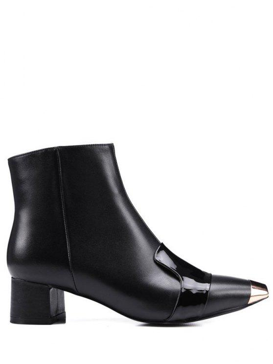 trendy Metal Toe Splicing Zipper Ankle Boots - BLACK 38
