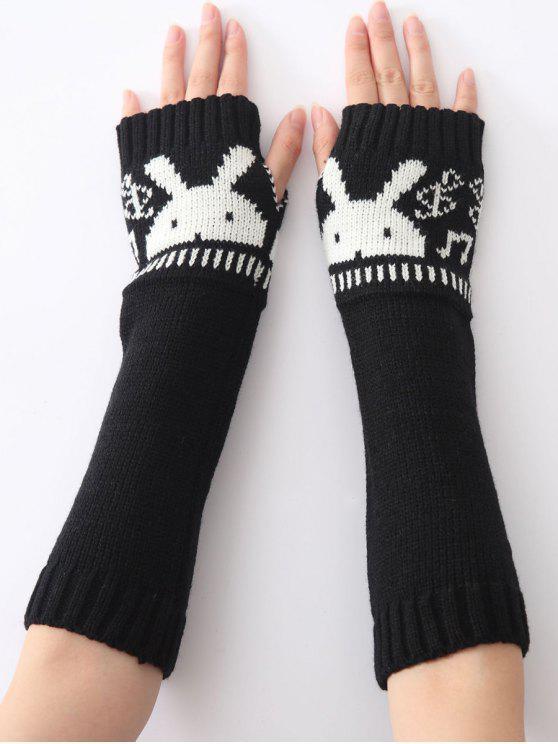 sale Christmas Winter Rabbit Head Hollow Out Crochet Knit Arm Warmers - BLACK