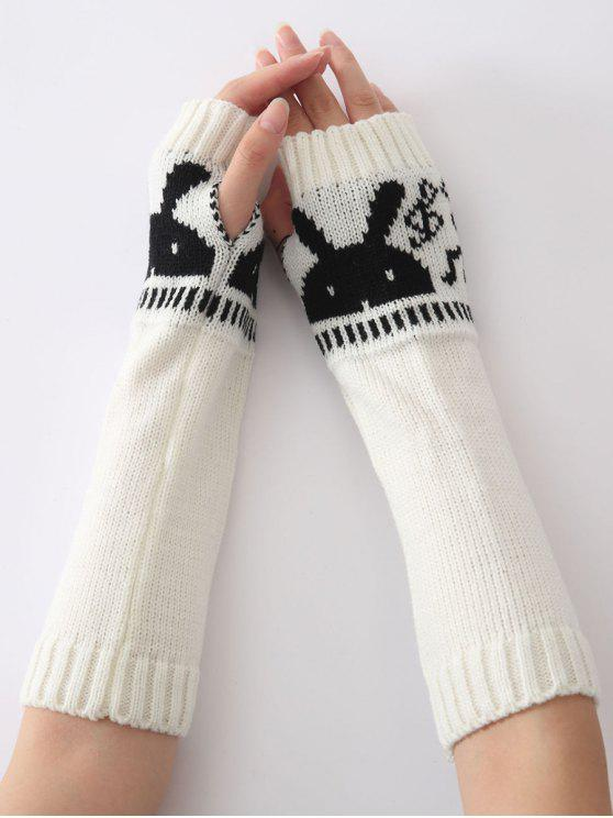 affordable Christmas Winter Rabbit Head Hollow Out Crochet Knit Arm Warmers - WHITE