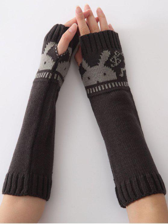 Mitaines longues chaudes tricotées tête de lapin, d'hiver de Noël, - gris foncé