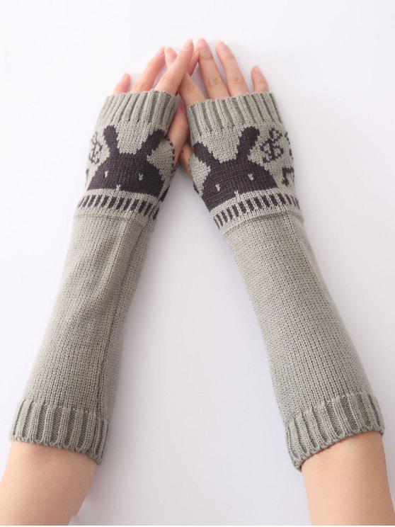 womens Christmas Winter Rabbit Head Hollow Out Crochet Knit Arm Warmers - LIGHT GRAY