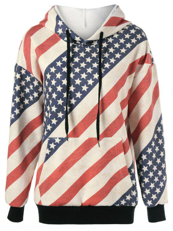 fancy Flag Drawstring Distressed Hoodie - RED AND WHITE AND BLUE M