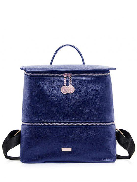 hot Metallic Zips PU Leather Backpack - BLUE