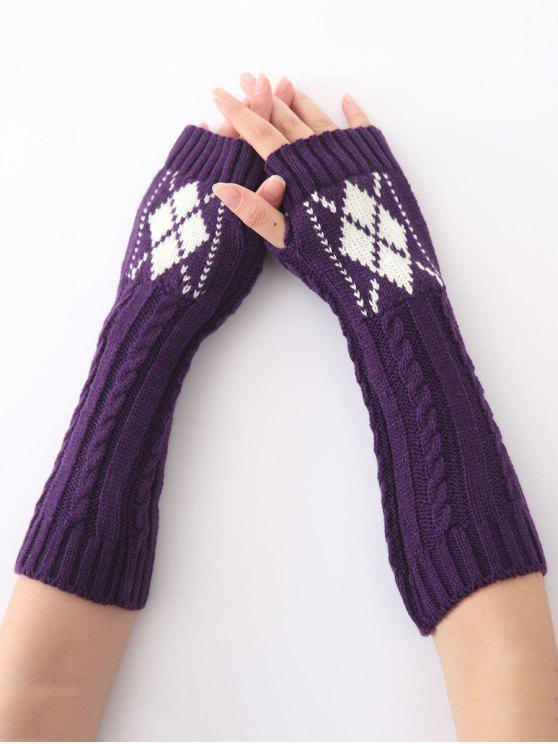 Mitaines longues chaudes torsadées tricotées à motif de diamant, d'hiver de Noël - Pourpre