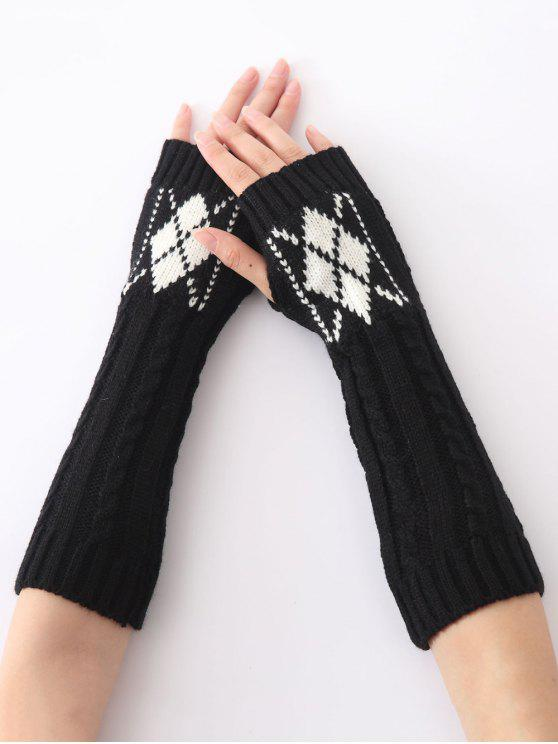 ladies Hemp Decorative Pattern Diamond Crochet Knit Arm Warmers - BLACK