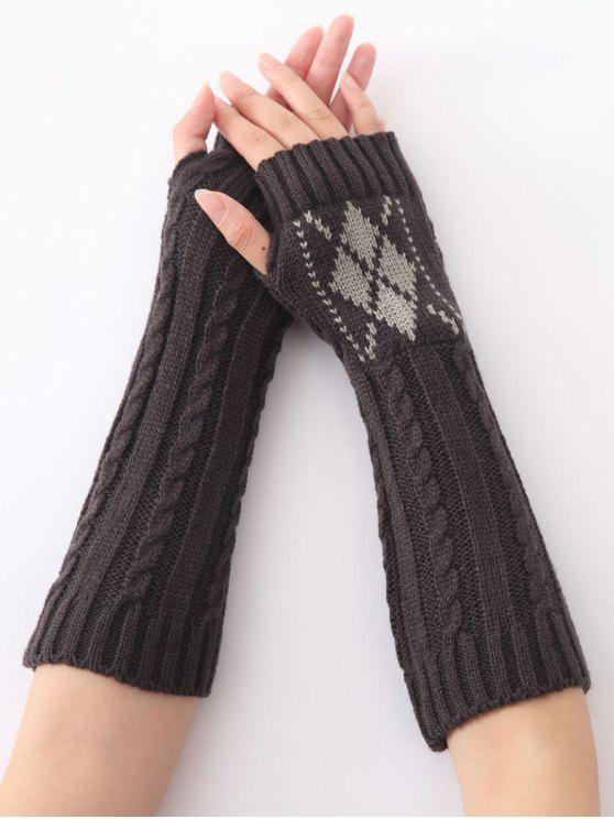 lady Hemp Decorative Pattern Diamond Christmas Crochet Knit Arm Warmers - DEEP GRAY