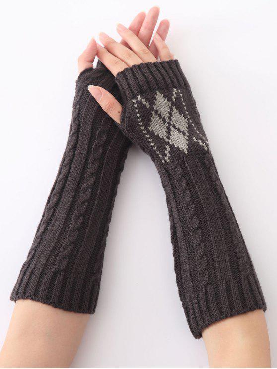 lady Hemp Decorative Pattern Diamond Christmas Crochet Knit Arm Warmers - DEEP GRAY