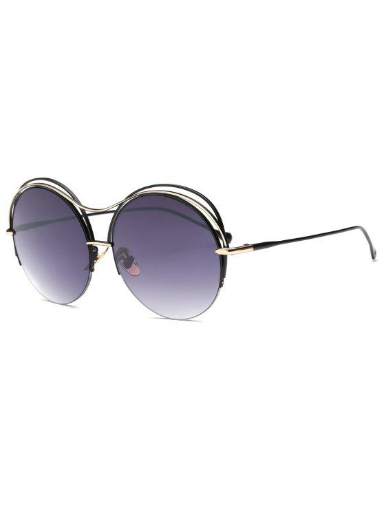 sale Three Layered Frame Round Sunglasses - BLACK