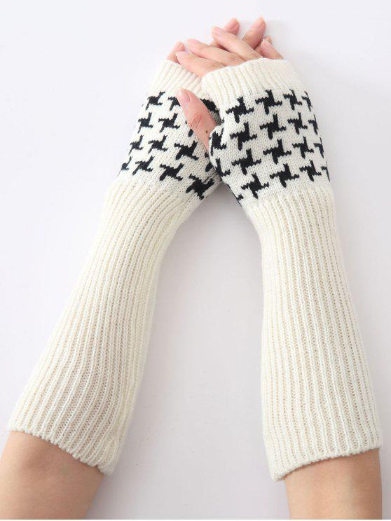hot Christmas Winter Vertical Stripe Plover Case Crochet Knit Arm Warmers - WHITE