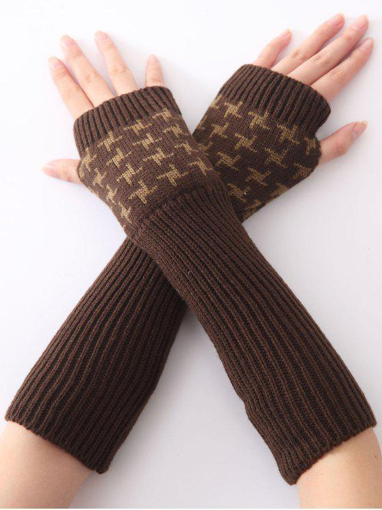 shop Christmas Winter Vertical Stripe Plover Case Crochet Knit Arm Warmers - COFFEE