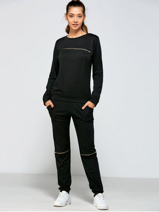 outfits Zippered Sweatshirt and Pants - BLACK L