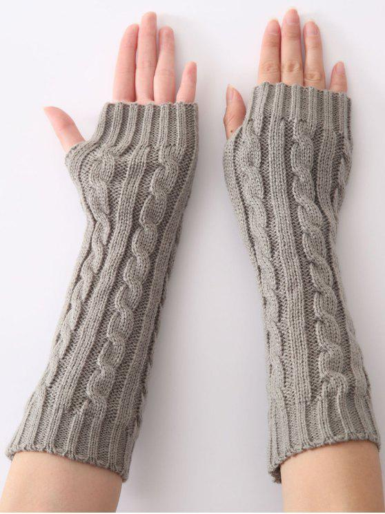 trendy Hemp Decorative Pattern Christmas Keep Warm Crochet Knit Arm Warmers - LIGHT GRAY